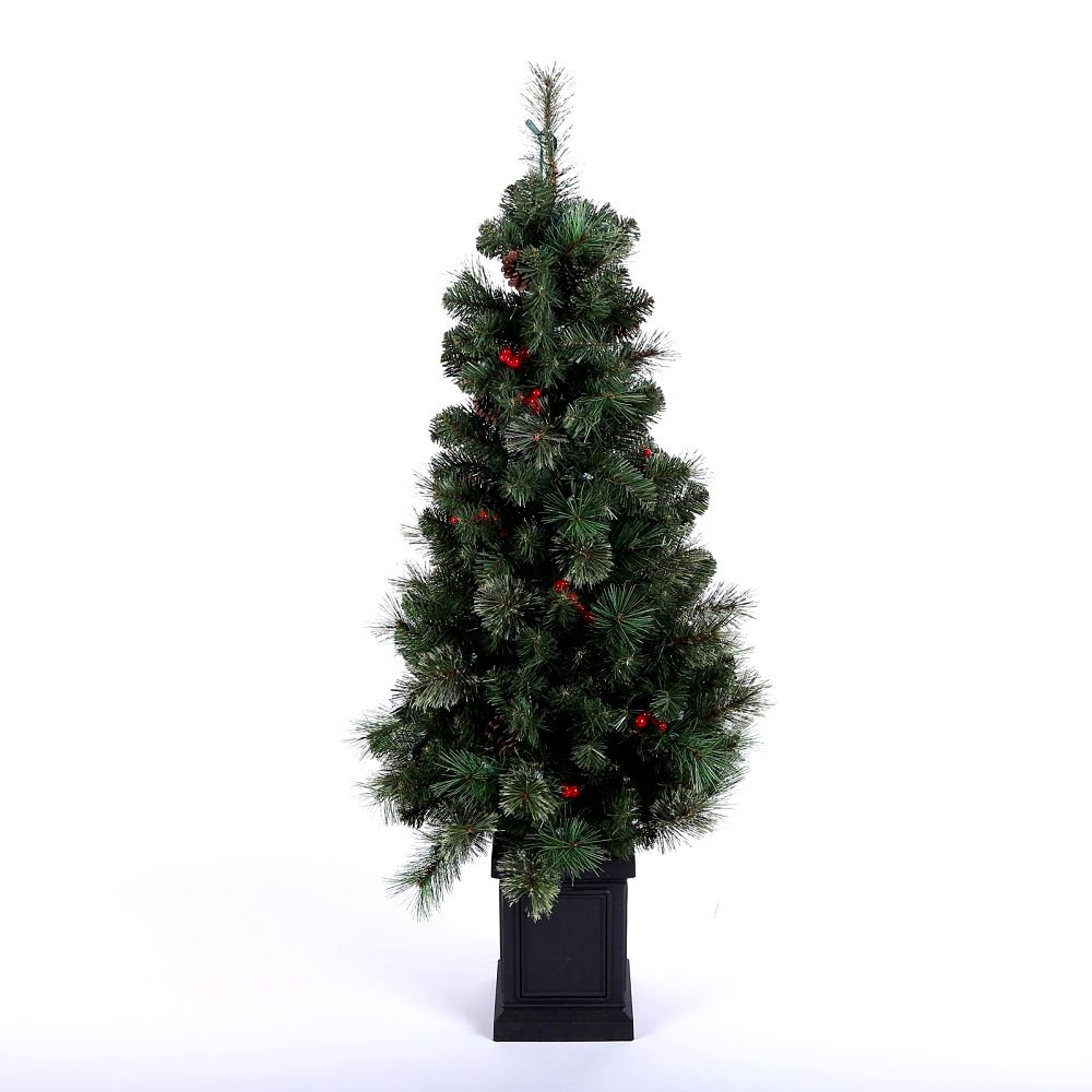 Artificial Christmas Tree. Fake 4 Foot Xmas Fir It's Green, Lush, Dense Branches With Pinecones, Red Berries Looks Original, Fresh & Festive. Great Indoor & Outdoor Holiday Season Party Decor.