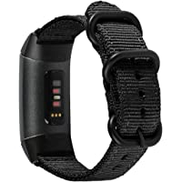 METEQI Bands Woven Nylon Sport Loop Wrist Strap Compatible With Fitbit Charge 4/ Fitbit Charge 3/Charge 3 SE (Dark Black…