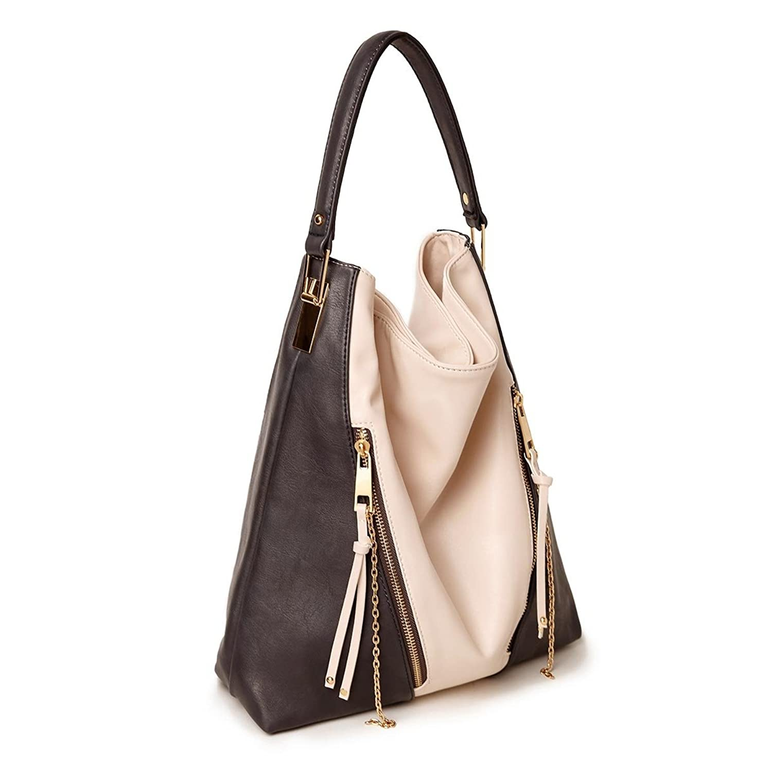 Best Two Tone Beige Hobo Slouch Vegan Leather Sack Tote Purse Over the Shoulder