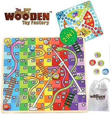 The Wooden Toy Factory - Juego de Mesa de Madera 2 en 1 ...