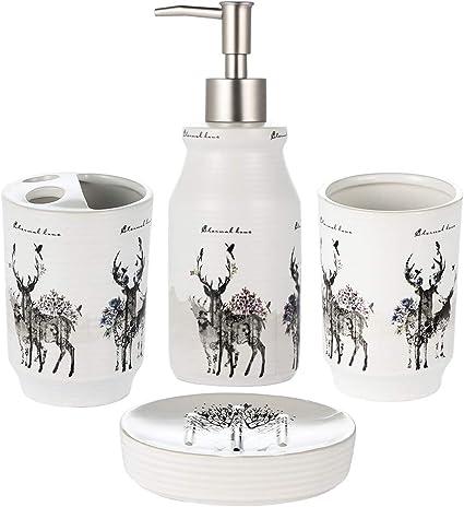 JOTOM Modern Design 4 Pieces Ceramic Bathroom Accessory Set Luxury Bath Bath Set