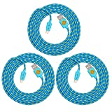 Set of 3 High Strength Braided Lightning Cables, Rapid Sync & Charge 8-Pin Lightning Data Cables for iPhone 7, iPhone 7 Plus. iPhone 6S, 6S Plus, iPad Pro, iPad Air [ 6FT / 2M ] - Blue