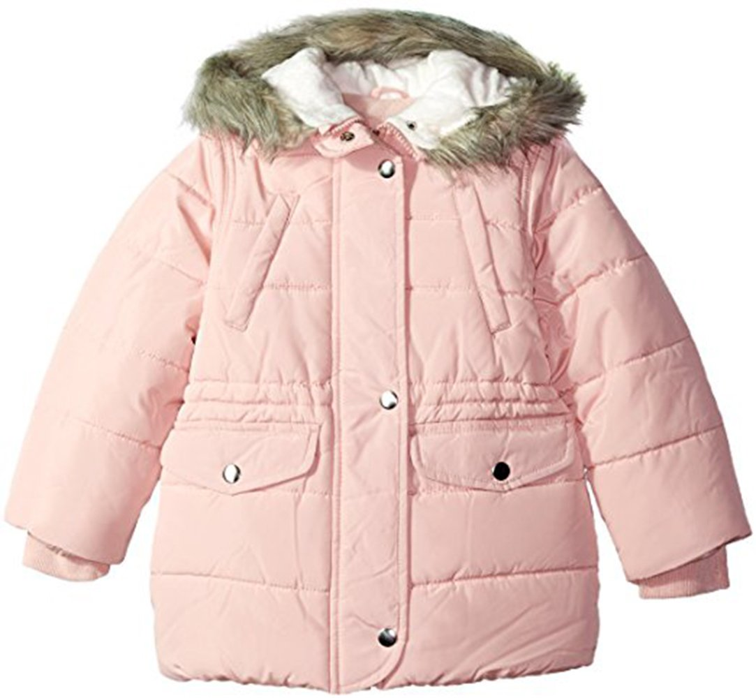Carter's Little Girls' Cozy Hood Puffy Jacket Coat, Fall Blush, 4/5