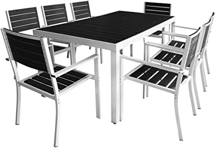 vidaXL Set Comedor Jardín 9 Piezas 185x90x74 Negro Mobiliario Mueble Terraza: Amazon.es: Hogar
