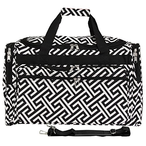 World Traveler 22 Inch Duffle Bag, Greek Key H Black White, One Size