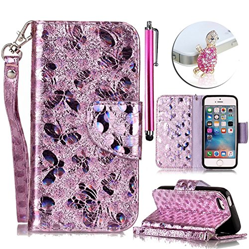 For iPhone 6 Plus/ 6S Plus 5.5 Case,Vandot Laser Butterfly Pattern Magnetic Closure Foldable Strap PU Leather Wallet Case Flip Folio Stand Card Slots Pouch Bookstyle Protective Phone Cover-Pink