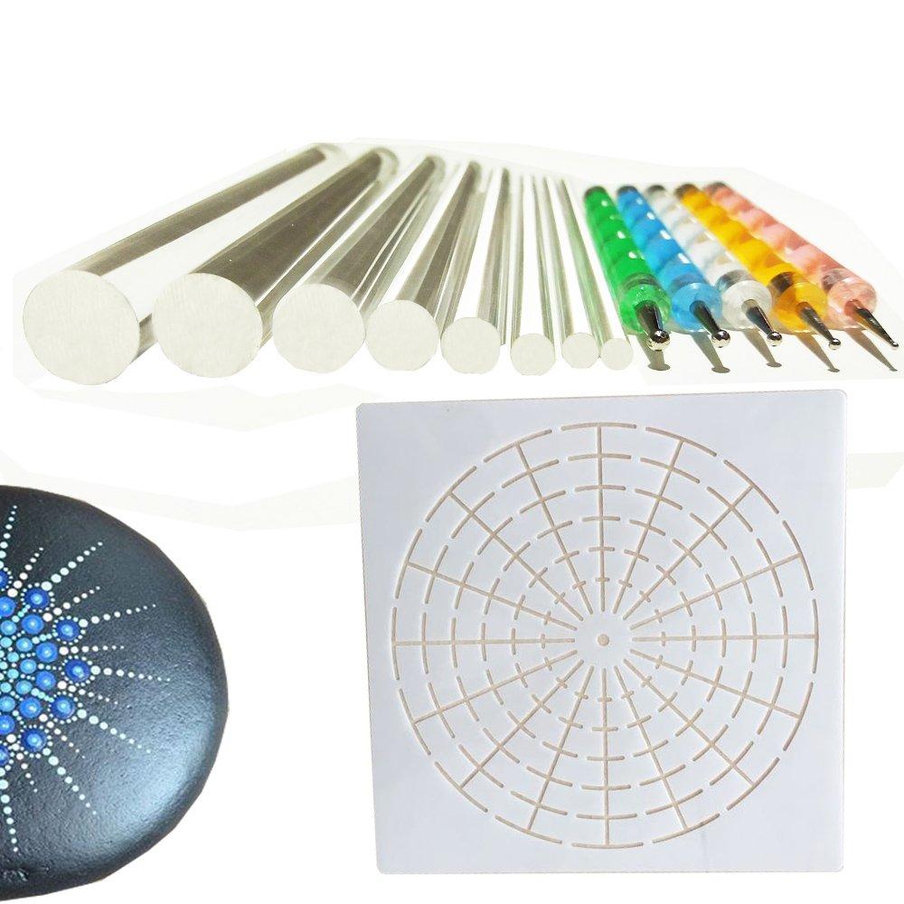 Mandala Rock Stone Painting Pen Dot Dotting Tool Stencil Brush Set 12 PCS Flat Head 3mm 4mm 5mm 6mm 8mm 10mm 12mm 14mm Diameter (set4) alt2day