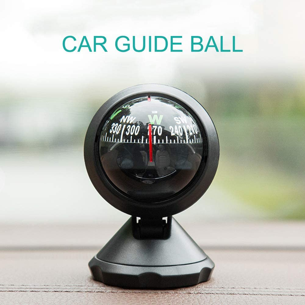 Mini Compass Ball with Adhesive for Car Outdoor Guide in Direction Finding with Dash Stand Truck or Boat Delicate Decoration Car Accessories