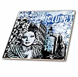 3dRose Andrea Haase Art Illustration - Women Face Illustration Mixed Media In Shades Of Blue - 8 Inch Glass Tile (ct_268115_7)