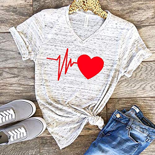 Womens Cute 3D Graphic Printed T-Shirt,Summer Stylish Love Print Twist Knot Tops Casual Blouse T-Shirt Loose Fit Comfy Tops