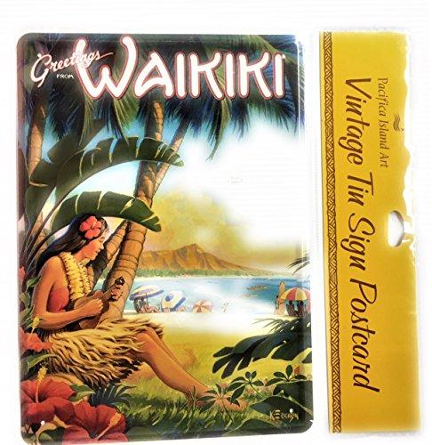 Vintage Tin Sign Postcard - Waikiki Beach Beauty