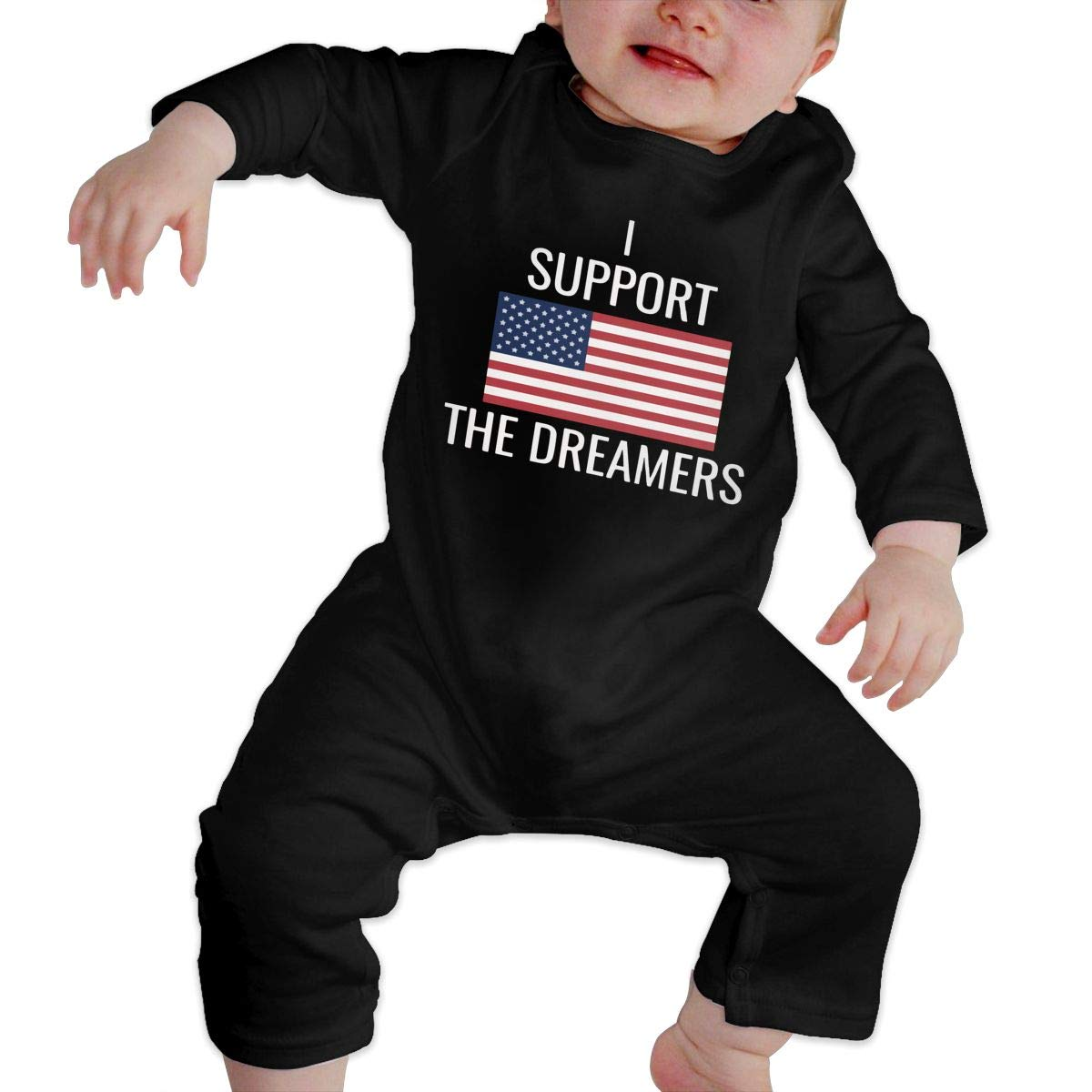 Baby Girls Round Collar I Support The Dreamers US Flag Long Sleeve Romper Jumpsuit 100/% Cotton Suit 6-24 Months