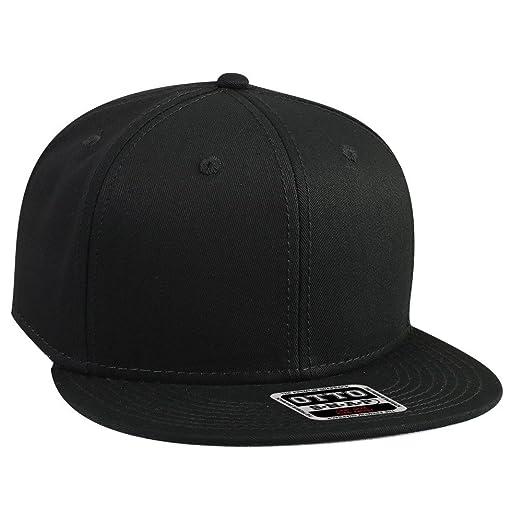 OTTO SNAP Cotton Twill Round Flat Visor 6 Panel Pro Style Snapback Hat -  Black 3044684fdd21