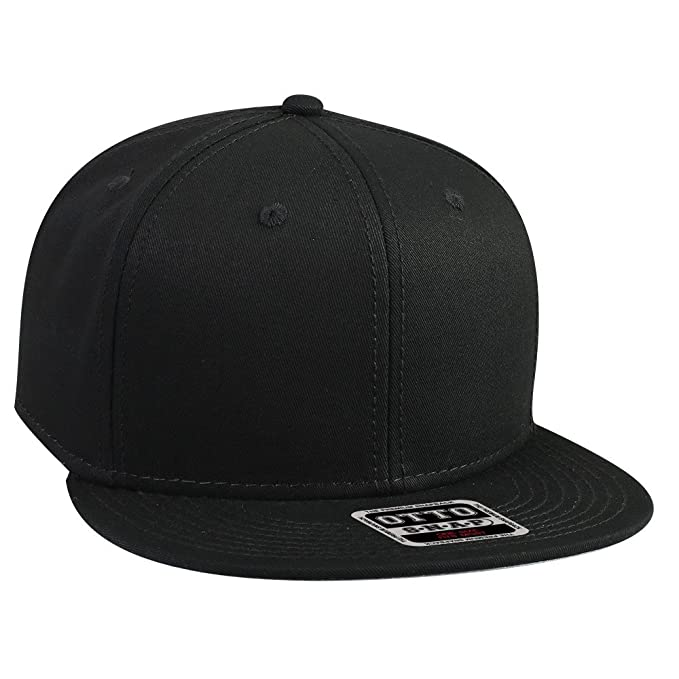 OTTO SNAP Cotton Twill Round Flat Visor 6 Panel Pro Style Snapback Hat -  Black 62efc7c32