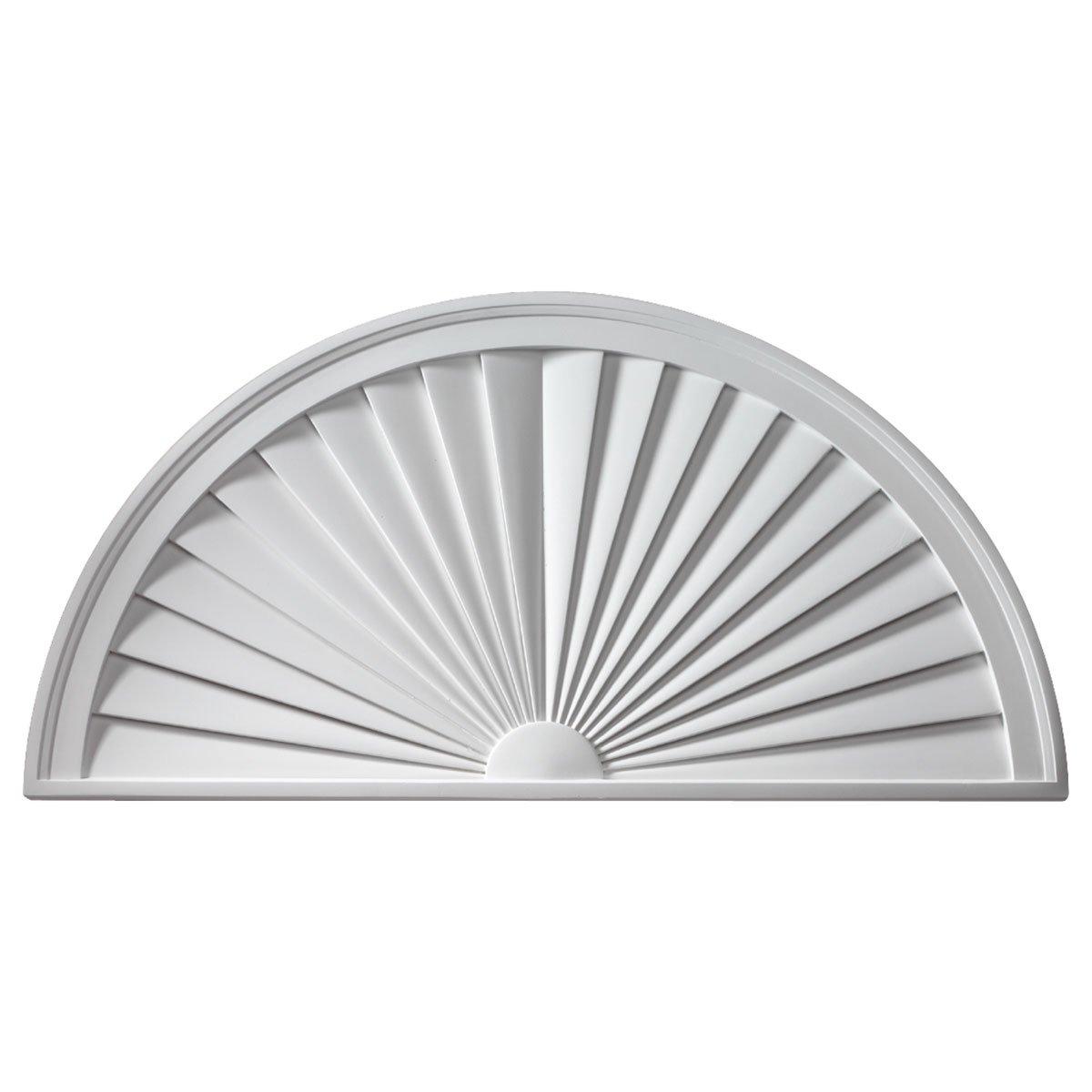 Fypon SWDH30X15 30'' W x 15'' H x 1 3/4'' P, Half Round Sunburst Window Pediment