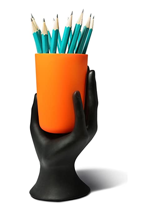 HAND CUP PEN / PENCIL HOLDER By LilGift (Orange)