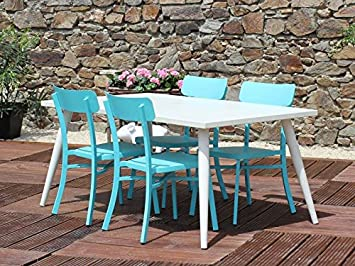 Residence Salon De Jardin Mica Crème - Couleur - Bleu: Amazon.fr: Jardin