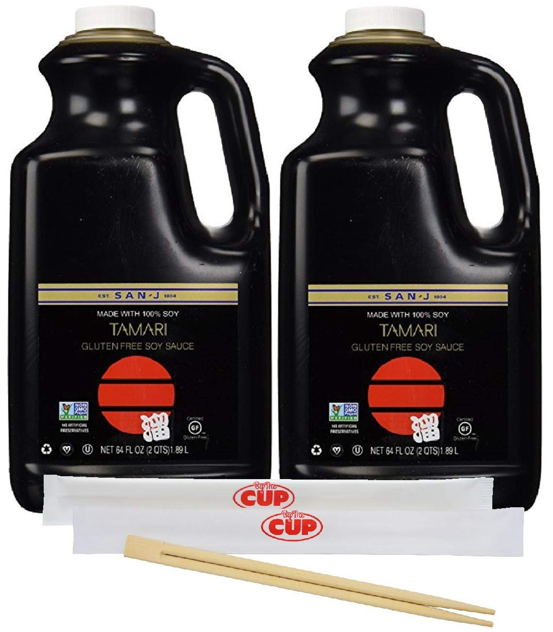San-J Tamari Gluten-Free Black Label Soy Sauce, 64 Ounce Bottle (Pack of 2) - with 2 Packs of Chopsticks by By The Cup