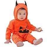 A.S.T(エーエスティー)ハロウィン コスプレ 衣装 子供 赤ちゃん かぼちゃ コスチューム ロンパース (70㎝, オレンジ)