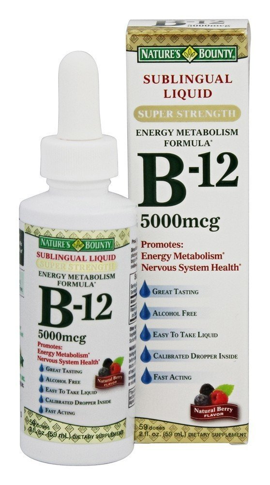 Nature s Bounty B-12 5000 mcg Sublingual Liquid Energy Health 2 oz Pack of 9