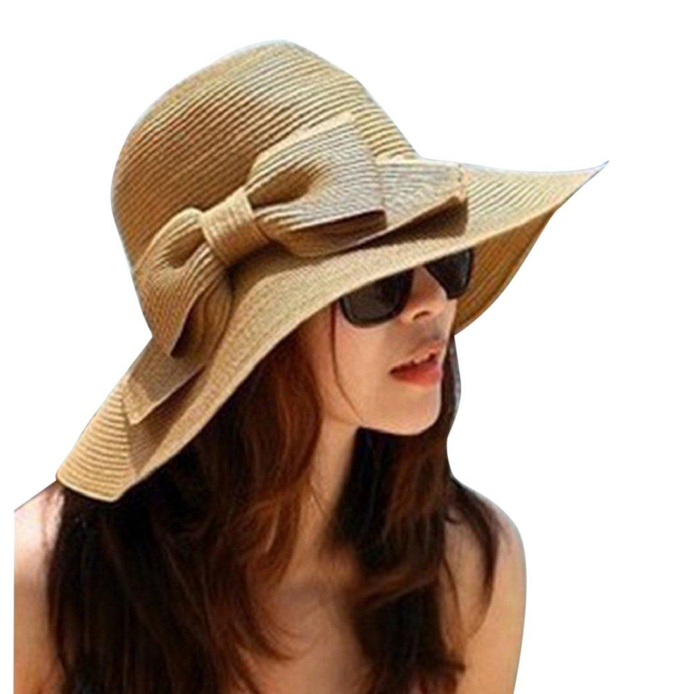 Moollyfox Bohemia Verano Sun Floppy Sombrero de la Playa de la Paja del Borde Grande Ancho Cap Moda Café