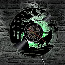 Shinestore Wolf LED Backlight Night Light Vinyl Wall Clock Color Change Atmosphere Light Lamp Cool Living Room Interior Decor