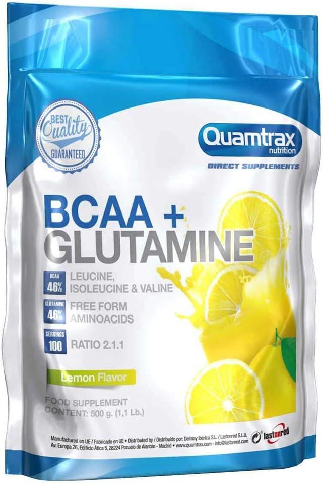 QUAMTRAX DIRECT BCAA 2:1:1 + GLUTAMINE 500gr Limon Glutamina Bcaa