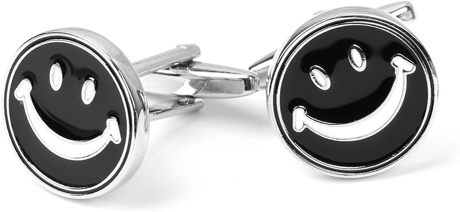 A0127 - Gemelos de camisa de negocios, para hombre, regalo de joyas, cara sonriente, redondos, 1 par de plata: Amazon.es: Joyería