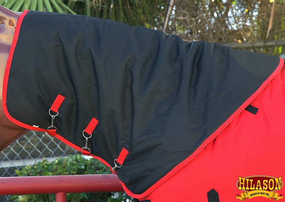 HILASON LRG 1200D Winter Waterproof Poly Turnout Horse Hood Neck Cover RED
