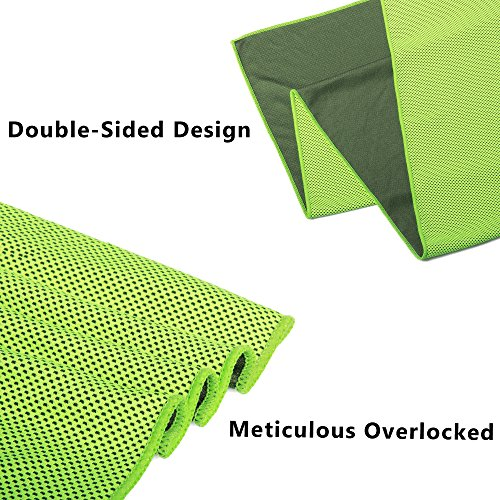 "Instant Cooling Towel (40""x12"") Stay Cool for Hours, Chilling Neck Wrap, Ice Cold Scarf and Bandana Perfect for Sports Basketball Golf Football Yoga Workout Gym Pilates Travel Camping - 1 Pack/ 2 Pack"
