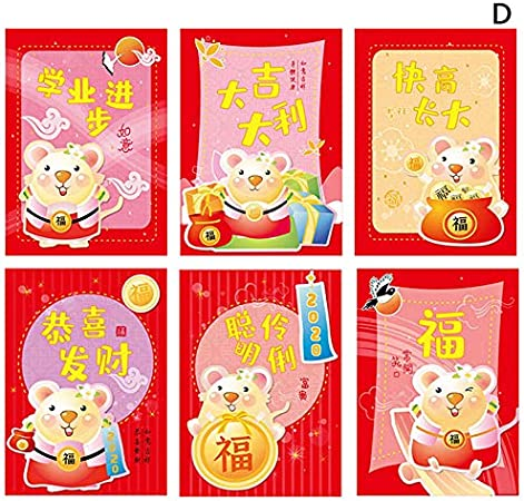 6Pcs 2020 Chinese New Year of the Rat Fortune Red Packet Money Wrap Envelope UK