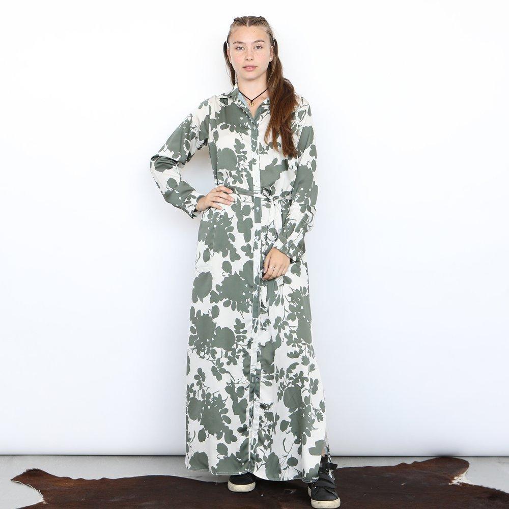 Safari Dress , Floral dress ,Button down dress , Olive .