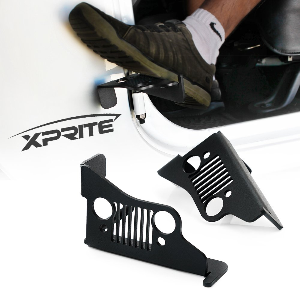 Xprite Jeep Front Black Steel Foot Pegs for 2007-2018 Jeep Wrangler JK 2DR JKU 4DR - 1 Pair ZS-0029-G1-1