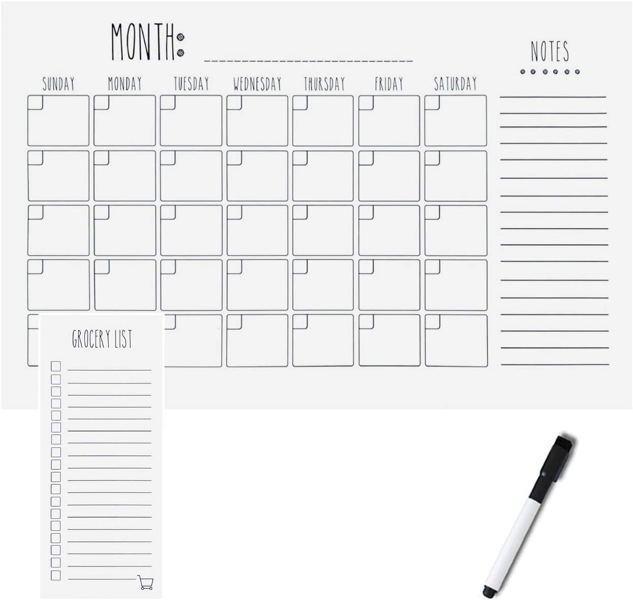 Magnetic Dry Erase Calendar - Large Magnetic Calendar – 17 x 11 Minimalist Planner, 9 x 4 Grocery List, with Marker – Magnetic Calendar for Fridge – Simple Minimalistic – Home, Office, & Schools