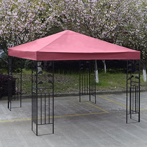 10' X 10' Gazebo Top Cover Patio Canopy Replacement 1-Tier or 2-Tier 3 Color Protection Against UV Rays From Sun Brand New (1 Tier Red) (Grill And Under Car Light compare prices)