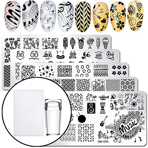 WOKOTO 6Pcs Nail Polish Stamping Plates Set With Stamper And Scraper Kit Porpular Fashion Emoticons Ice Cream Image Design Templates Stencil For Nails Kit