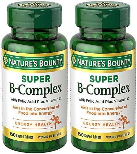 B-Complex with Folic Acid Plus C, 150 Tablets (2 Bottles)