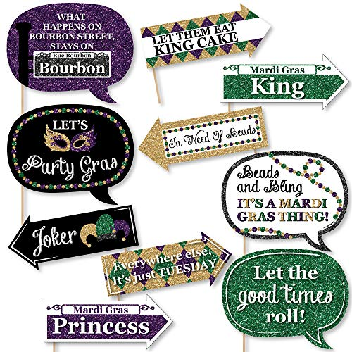 Funny Mardi Gras - Photo Booth Props Kit - 10 Piece -