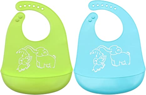 Pack de 2 Baberos de Silicona Bebés Niños Impermeable Para 0-6 ...