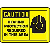 """Accuform Signs MPPE410VP Plastic Safety Sign, Legend """"CAUTION HEARING PROTECTION REQUIRED IN THIS AREA"""" with Graphic, 7"""" Length x 10"""" Width x 0.055"""" Thickness, Black on Yellow"""