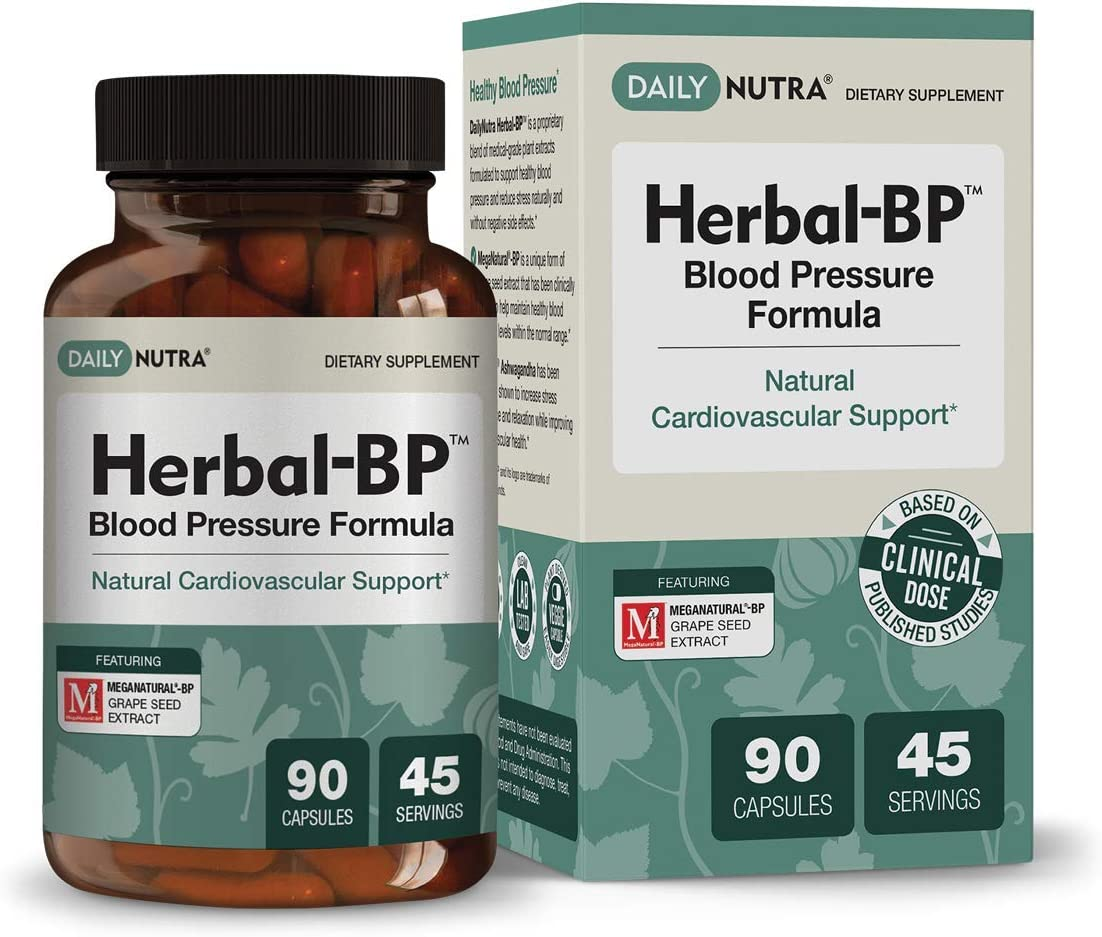 Herbal-BP Natural Blood Pressure Supplement by DailyNutra – Supports Cardiovascular Health Stress Management Medical Grade Plant Extracts – Safe, Long-Term Support 90 Capsules