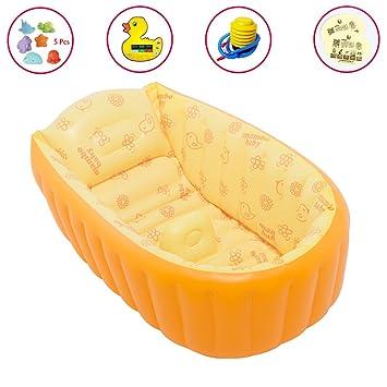 APig Bañera Espesada Hinchable para Bebés Piscina Flotador Inflable para Niños de 0-3 Años, 90x45x28 cm (Naranja): Amazon.es: Juguetes y juegos