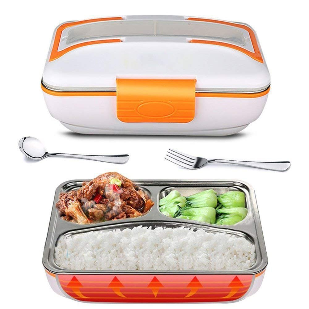 YOUDirect Electric Heating Bento Lunch Box - Portable Meal Heater Food Warmer Stainless Steel Plug Heating Food Container Leak-Proof Food Boxes for Home Office Use 110V (Orange)
