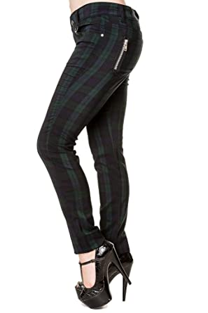 6d99a439f02 Banned Women s Blue Tartan Plaid Check Emo Punk Jeans Trousers - (S ...