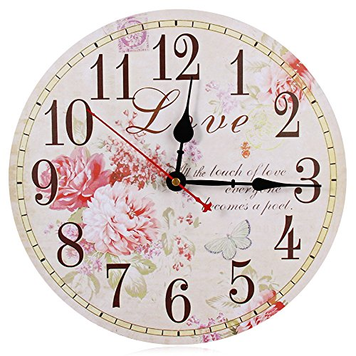 Robolife Decorative Silent Round Vintage Wooden Wall Clock Peony Design (Clock Peonies Decorative Wall)