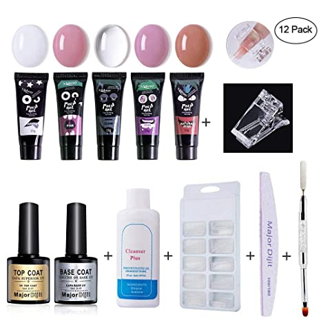 Kit de Uñas Poly gel, leegoal 12 PCS todo en un kit de arte de