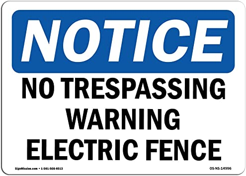 10 X 7 Aluminum Warehouse /& Shop Area /Made in the USA OSHA Notice Sign Protect Your Business Please Do Not Lean On Or Cross Over Fence Work Site Aluminum Sign