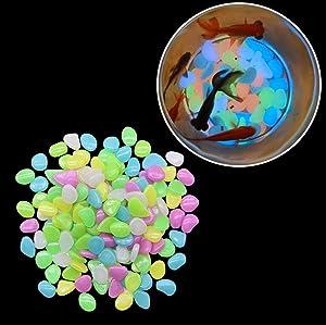 GBSTORE 50 Pcs Mix Colored Luminous Stones Glow in The Dark Garden Pebbles Rocks for Home Outdoor Walkways Garden Path Patio Lawn Garden Yard Fish Tank Decor