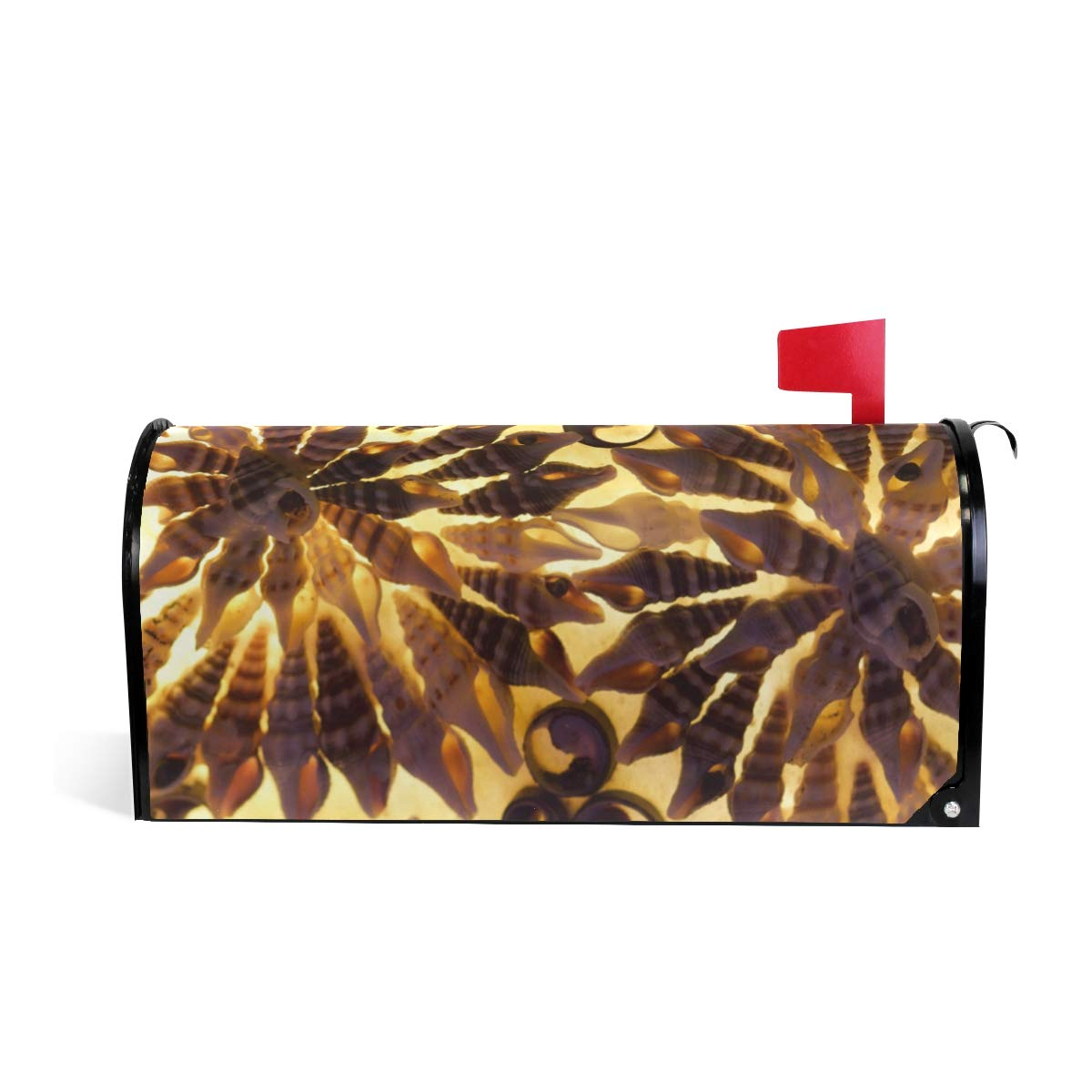 HEOEH Mussels Gold Light Flora Pattern Magnetic Mailbox Cover Home Garden Decorations Oversized 25.5 x 20.8 inches