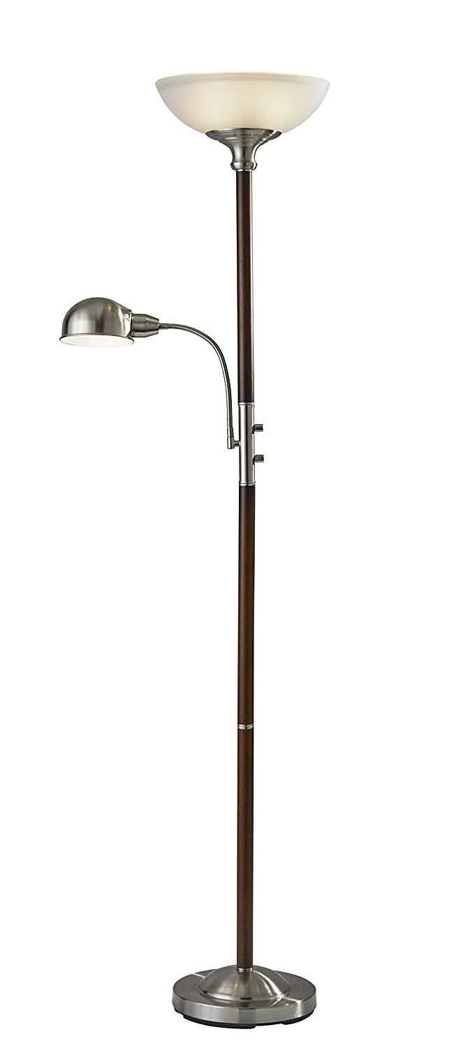 Adesso 4052 15 Lexington 71 Combo 2 Light Floor Lamp Walnut Smart